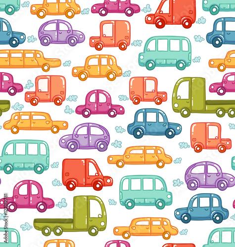 Fototapeta Doodle cars seamless pattern