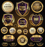 Golden sale shields laurel wreaths and badges collection