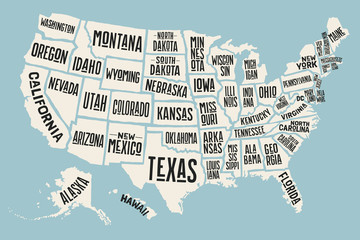 Poster map of United States of America with state names. Print map of USA for t-shirt, poster or geographic themes. Hand-drawn colorful map with states. Vector Illustration © foxysgraphic