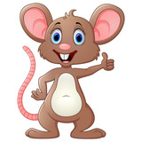 Fototapety Cute mouse cartoon give thumb up