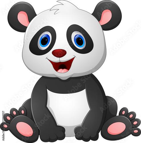 Fototapeta Cute baby panda sitting