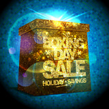 Boxing day sale design with golden gift box