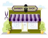 Facade barbershop. Signboard with emblem, awning and symbol in windows. Concept front shop for design banner or brochure. image in a flat design. Vector illustration isolated on white background