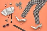 Fashion Design Outfit. Essentials fashion Cosmetic Makeup. Fashion woman Clothes Accessories Set. Minimal. Stylish Leggings, Glamor fashion Heels, Handbag Clutch, Trendy Sunglasses. Top view. Creative