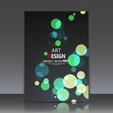 Abstract composition, geometric shapes icon, green bubbles ornament, a4 brochure title sheet, round logo construction backdrop, business card texture surface, fashionable fiber texture, EPS10 vecto