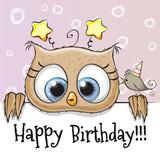 Birthday card with Owl
