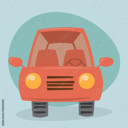 Fotobehang Auto Cartoon car - front view