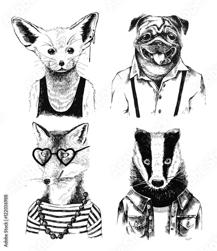 Hand drawn dressed up badger in hipster style - 122036988