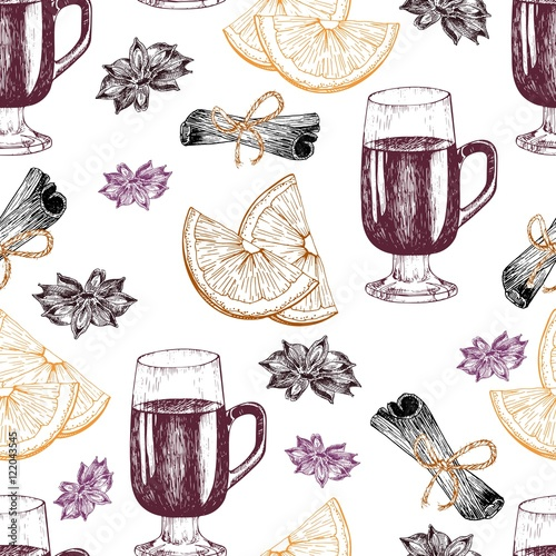 Materiał do szycia Vector seamless pattern of mulled wine ingredients. Hand drawn vintage elements. Glass, orange, cinnamon, anise.