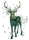 Naklejka Deer and Abstract Forest Landscape