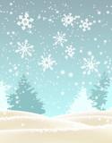 Abstract winter landscape, illustration