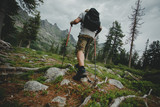 Man hiking in the mountains with a backpack in wildlife nature
