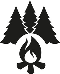 Campfire with fir tree