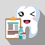 cartoon human tooth with happy expression face and dental icons. vector illustration