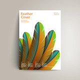 Colorful feather cover design. Exotic bird feathers composition on white.Applicable for Covers, Voucher, Posters, Flyers and Banner Designs. Eps10 vector illustration.