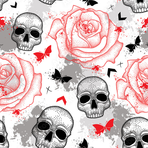 Staande foto Vlinders in Grunge Vector seamless pattern with dotted skull, open roses, arrows, butterflies and blots in red and black and gray on the white background. Abstract creative background in Trash Polka and dotwork style.