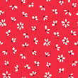 Floral seamless pattern in black and white on red background.  - 122077734