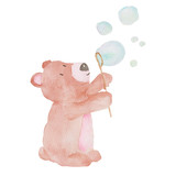 Bear Cute Animal Watercolor illustration Bubbles Water Kids Baby Hand-painted Animals Isolated