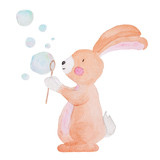Cute Animal Watercolor illustration Bubbles Water Kids Baby Hand-painted Animals Isolated