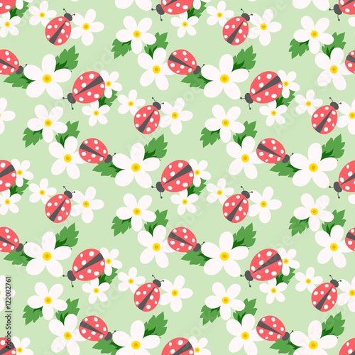 Fototapeta Small flower vector with ladybug. Cute white floral seamless pattern. Floral background.