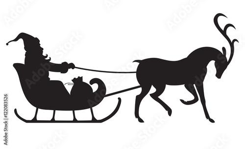 Christmas silhouette Santa riding on reindeer sleigh