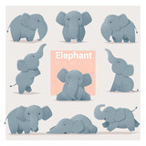 Set of Elephant fami...