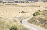 landscape with pilgrims walking a country road on a summer day in Hornillos del Camino, Burgos, Spain