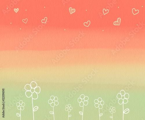 Fototapeta Flower and heart on pastel background watercolor illustration