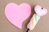 valentine heart candy with blank note