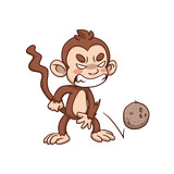 Angry Monkey Cartoon Mascot