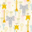 Vector hand draw seamless pattern with animals.