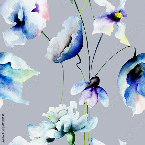 Fototapeta Seamless wallpaper with blue flowers