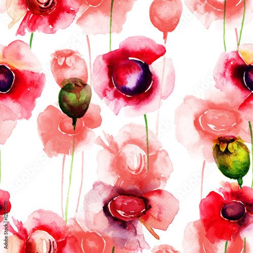 Seamless wallpaper with summer flowers - 122115111