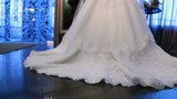 Brides beautiful white wedding dress at wedding recieption