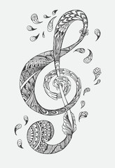 Hand-drawn music key with ethnic ornaments doodle pattern. Vector illustration Henna Mandala Zentangle stylized for Cover book or card, tattoo more. Design for spiritual relaxation for adults.