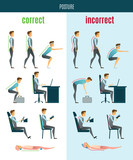 Correct And Incorrect Posture Flat Icons