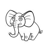 Coloring book elephant african animal cartoon