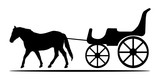 Silhouettes Of Horse And Carriage  Illustration Wall Sticker