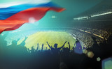 Fototapety crowded stadium with russian flag