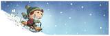 niño jugando con trineo en la nieve