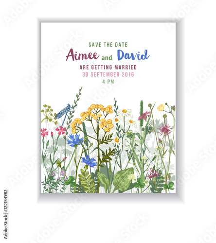 Save the date card with herbs and flowers