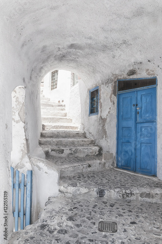 Narrow Alley and stairway on Santorini