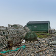 Lobster traps at dock, Sally's Cove, Gros Morne National Park, N