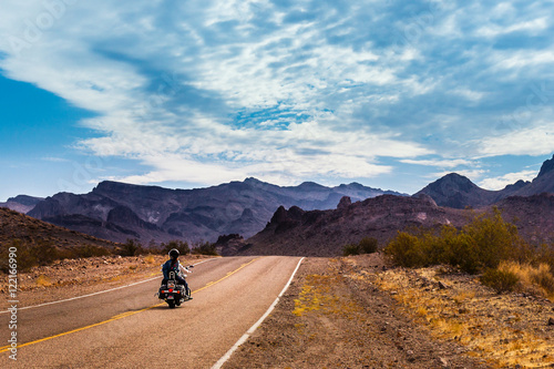 Fotobehang Route 66 Biker driving on the Highway on legendary Route 66 to Oatman, Arizona.