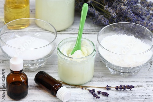 Antibacterial  and natural homemade deodorant  made from coconut oil, sodium bic Poster