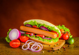 Hot Dog Sandwich with Fresh Vegetables