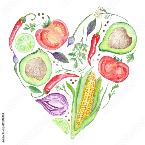 Fototapeta Watercolor Vegetable Heart