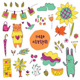 Autumn vector isolated elements collection
