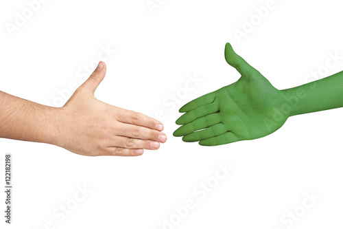 Canvas UFO Handshaking human alien hands isolated