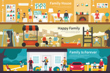House Happy Family Is Forever flat interior outdoor concept web